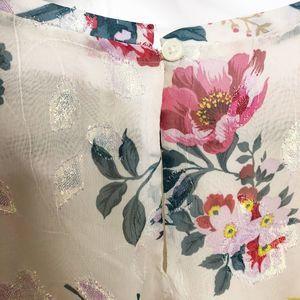 LOFT Tops - LOFT Floral Bell Cuff Blouse Floral Pink Gold Med